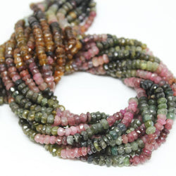 Multi Tourmaline Faceted Cut Rondelle Gemstone Loose Spacer Beads Strand 13