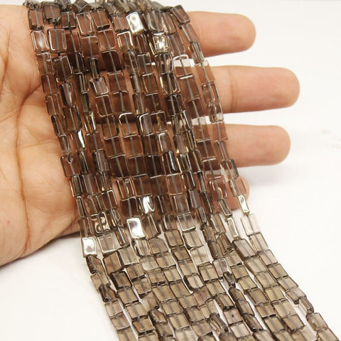 10 Strands Smoky Quartz Gemstone Chiclet Rectangle Bead Strand 7mm 8mm 13