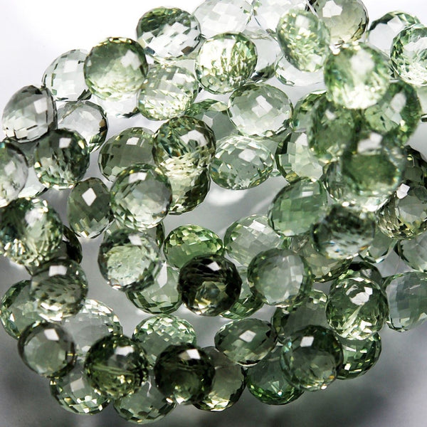 Green Amethyst Faceted Onion Briolette Gemstone Loose Beads Strand 10 Pair 8mm