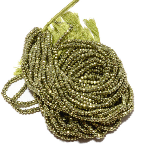 10 strands Green Pyrite Faceted Rondelle Gemstone Loose Bead Strand 14