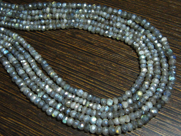 "2 Strand Natural Mystic Labradorite Faceted Rondelle Gemstone Beads 13"" 3.5mm"