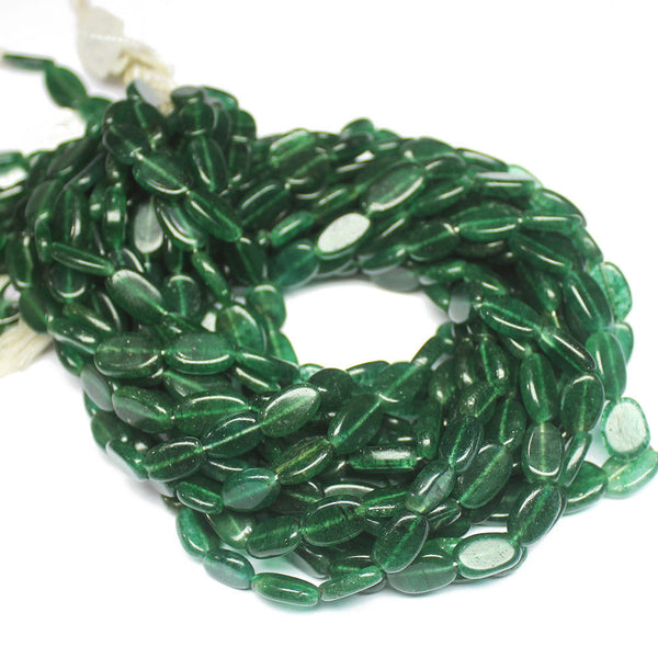 "5 Strand Natural Jade Smooth Oval Gemstone Loose Beads 14"" 11mm 13mm"