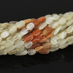3 Strand Natural Multi Moonstone Smooth Oval Nugget Gemstone Beads 14