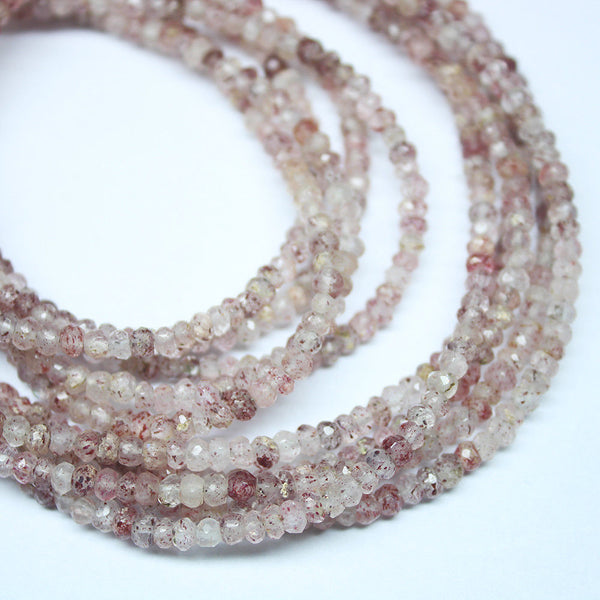 3 Strands Strawberry Quartz Faceted Rondelle Loose Gemstone Spacer Beads 3mm 17""