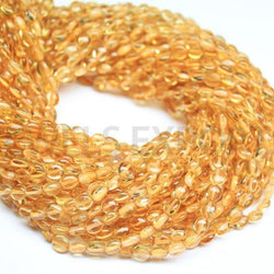 Yellow Golden Citrine Gemstone Loose Smooth Oval Craft Beads Strand 14