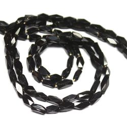 Natural Black Onyx Faceted Rectangle Loose Gemstone Beads Strand 11mm 8mm 14