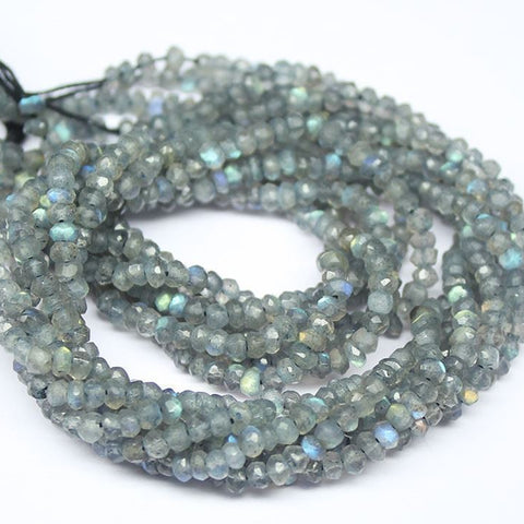 10 Strand Blue Fire Labradorite Faceted Rondelle Gemstone Loose Beads 13