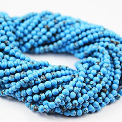 Lab Turquoise Smooth Polished Round Ball Loose Gemstone Beads Strand 13