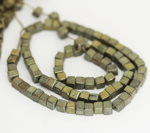 "5 Strand Natural Pyrite Smooth Square Box Cube Gemstone Loose Beads 16"" 6mm 5mm"