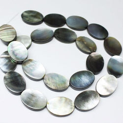 Mother of Pearl Black Shell Gemstone Loose Smooth Oval Bead Strand 18mm 14mm 16