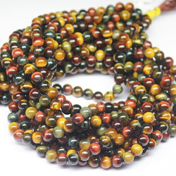 Natural Multi Tigers Eye Smooth Polished Round Ball Gemstone Bead Strand 16