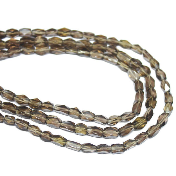 "5 Strand Brown Smoky Quartz Faceted Rectangle Gemstone Loose Beads 15"" 6mm 8mm"
