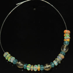 Citrine Apatite Fire Welo Ethiopian Opal Smooth Rondelle Beads 4.9ct 2