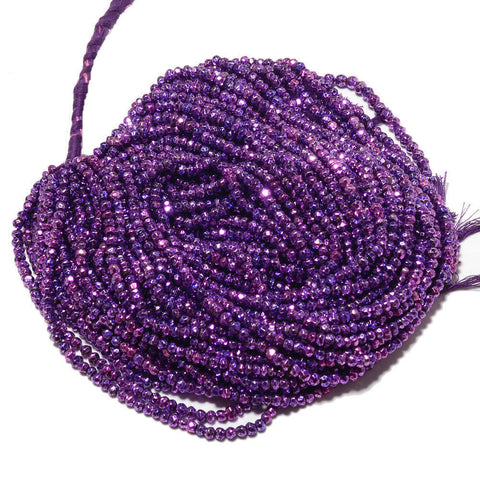 10 strands Purple Pyrite Faceted Rondelle Gemstone Loose Bead Strand 14