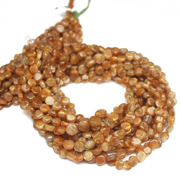 "5 Strand Natural Sunstone Smooth Coin Gemstone Loose Beads 14"" 5mm"