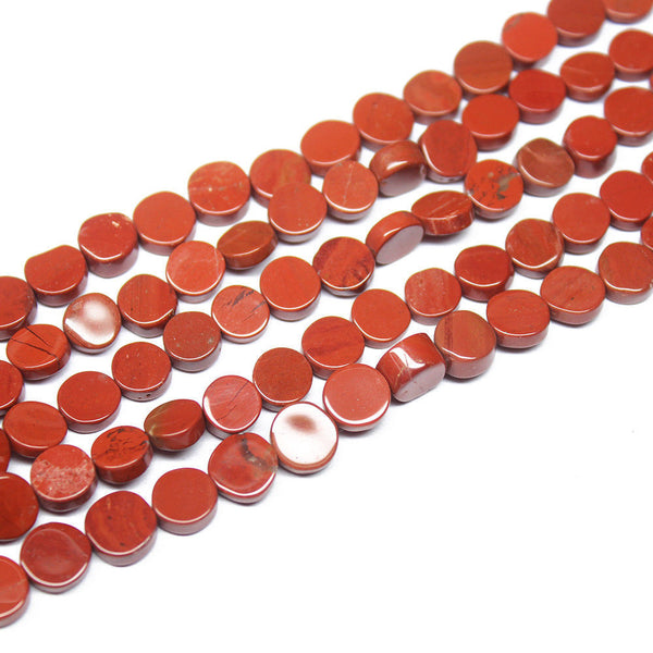 "5 Strand Natural Red Jasper Smooth Coin Gemstone Beads Strand 14"" 6mm 7mm"