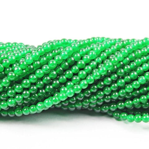 10 Strand Lot Natural Green Jade Smooth Loose Round Ball Gemstone Beads 4mm 14
