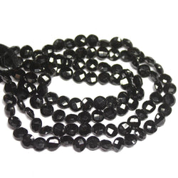 Natural Black Spinel Faceted Coin Loose Gemstone Beads Strand 7mm 14