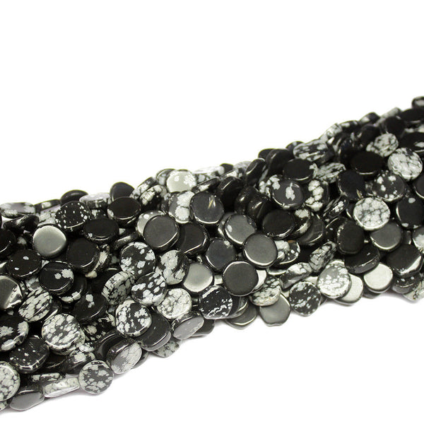"5 Strand Natural Snowflake Obsidian Coin Gemstone Loose Beads 14"" 9mm 10mm"