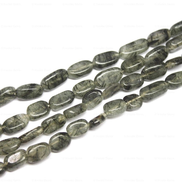 "5 Strand Natural Green Rutile Quartz Smooth Oval Loose Beads 14"" 8mm 10mm"