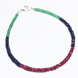 25 Cts+ Multi Gemstone Natural Emerald Ruby Sapphire Silver Clasp Bracelet 7.5