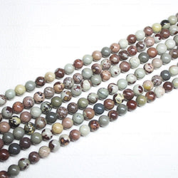 Natural Multi Jasper Smooth Round Ball Loose Gemstone Beads Strand 15