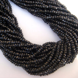 Natural Black Spinel Micro Faceted Rondelle Beads Strand 14