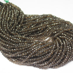 Natural Smoky Quartz Faceted Rondelle Gemstone Loose Spacer Beads Strand 14