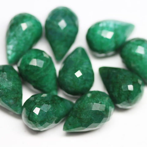 10 Beads Natural Genuine Green Emerald Faceted Tear Drop Briolette Beads 23mm
