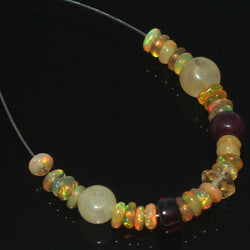 Citrine Garnet Welo Ethiopian Opal Smooth Rondelle Loose Beads 5.4ct 5mm 3mm 2