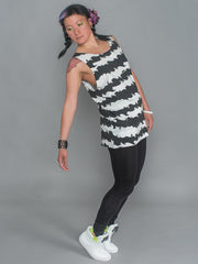 phannatiq ALEX TANK Raw Edged Tank Top from an Organic Cotton and Bamboo Blend in Cat Stripes print