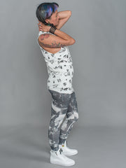 phannatiq ALEX TANK Raw Edged Tank Top from an Organic Cotton and Bamboo Blend in Fly Tipping print