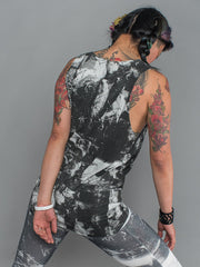 phannatiq ALEX TANK Raw Edged Tank Top from an Organic Cotton and Bamboo Blend in London print