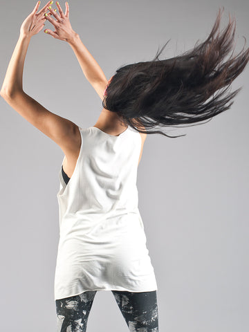 phannatiq ALEX TANK Raw Edged Tank Top from an Organic Cotton and Bamboo Blend in White