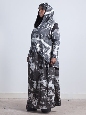 ALI HOODIE oversized hooded top made from Organic Cotton and Bamboo Jersey in london print