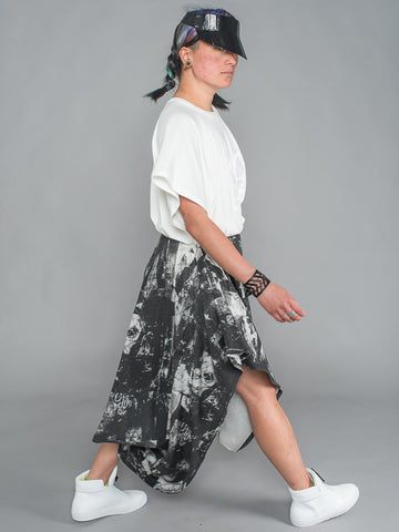 ARIADNE SKIRT Asymmetrical Draped Skirt made from Organic Cotton and Bamboo Jersey in london print