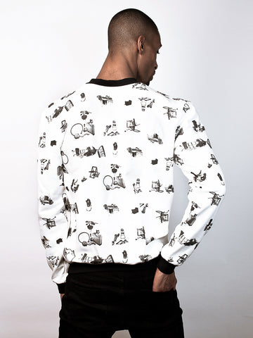 Corin Sweater Sweatshirt made from 100% Organic Cotton in fly tipping print