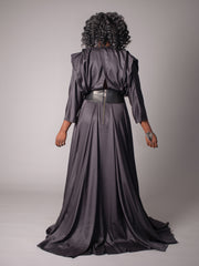 FAHEMA DRESS An exquisite dress with an amazing, almost circular flowing skirt with pockets and a draped, long sleeved bodice, cinched in at the waist with leather.  The Fahema dress is very similar to the Florence but is full length at the front and has a crossover back.  It has a luxurious sheen, but isn't shiny. The Fahema Dress is made to order with 100% Oeko-Tex 100 certified, unbleached bamboo with Japanese plonge leather.