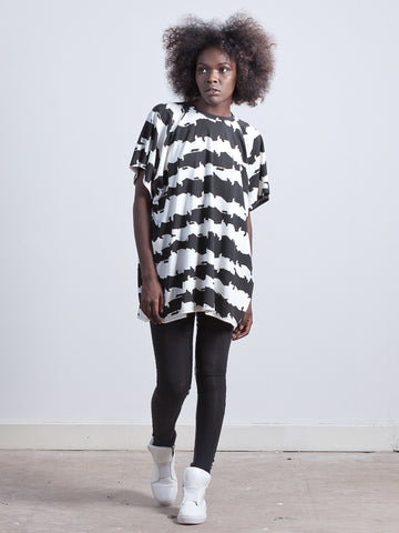 JAGGER T-SHIRT Oversized T-shirt made from Organic Cotton and Bamboo Jersey in cat stripe print