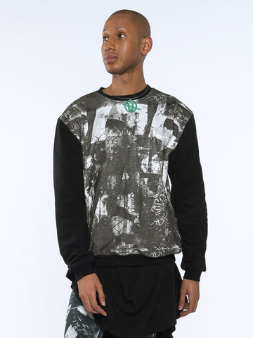 Jet Sweater Sweatshirt made from 100% Organic Cotton in london print with black contrast sleeve