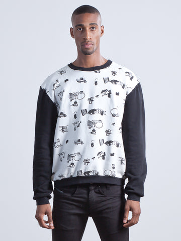 Jet Sweater Sweatshirt made from 100% Organic Cotton in fly tipping print with black contrast sleeve
