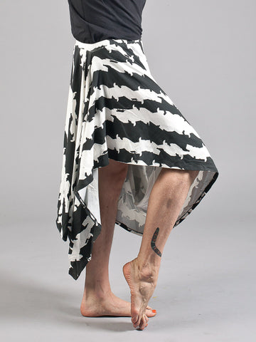 ARIADNE SKIRT Asymmetrical Draped Skirt made from Organic Cotton and Bamboo Jersey in cat stripe print