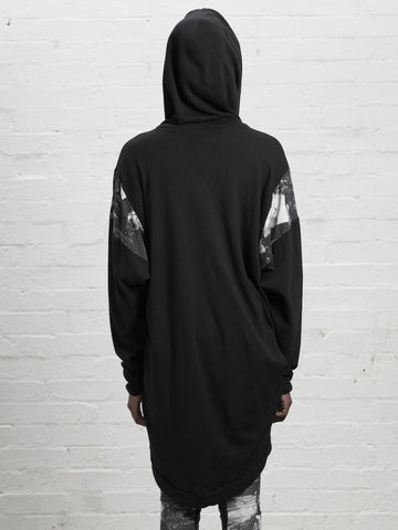 SALLY HOODIE Oversized Distinctive asymmetric Draped Hooded Top made from Organic Cotton and Bamboo Jersey in black with london print detailing