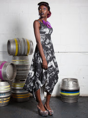 PENELOPE DRESS Draped Empire cut Dress made from Organic Cotton and Bamboo Jersey and can be worn as a maternity dress too, thanks to some cunning pattern cutting and its empire line, high enough to sit above a bump, with a voluminous skirt which cascades elegantly off any figure in london print