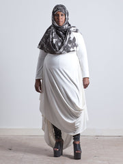 PENELOPE DRESS Draped Empire cut Dress made from Organic Cotton and Bamboo Jersey and can be worn as a maternity dress too, thanks to some cunning pattern cutting and its empire line, high enough to sit above a bump, with a voluminous skirt which cascades elegantly off any figure in white