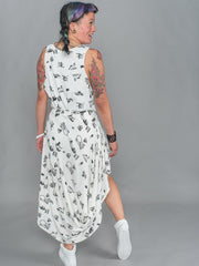 ARIADNE SKIRT Asymmetrical Draped Skirt made from Organic Cotton and Bamboo Jersey in fly tipping print