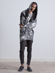 SALLY HOODIE Oversized Distinctive asymmetric Draped Hooded Top made from Organic Cotton and Bamboo Jersey in london print with black detailing