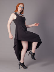 PENELOPE DRESS Draped Empire cut Dress made from Organic Cotton and Bamboo Jersey and can be worn as a maternity dress too, thanks to some cunning pattern cutting and its empire line, high enough to sit above a bump, with a voluminous skirt which cascades elegantly off any figure in black