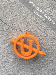 SCREW U NECKLACE Statement 3D Printed Necklace in orange the perfect gift