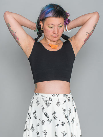 SHERENE CROP TOP Sporty Summer Stretchy Sleeveless Crop Top made from organic cotton and bamboo Jersey in black